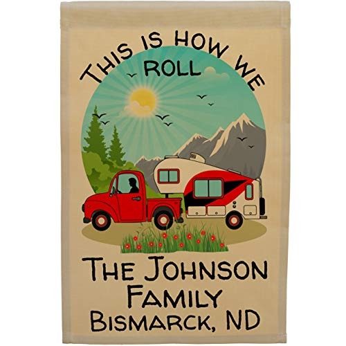 This is How We Roll Happy Campers Personalized Truck and 5th Wheel Campsite Flag, Customize Your Way (Red) -