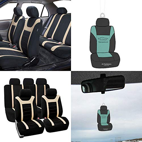 FH Group FB070115 Full Set Sports Fabric Car Seat Covers, Airbag Compatible & Split Bench, w. Free Air Freshener, Beige/Black Color - Fit Most Car, Truck, SUV, or Van