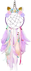 Basumee Unicorn Dream Catcher Wall Decor Cute Feather Dreamcatcher Wall Hanging for Bedrooms Party, Lavender
