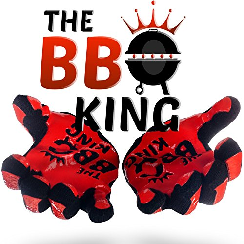 The BBQ King Barbecue Gloves- Premium Heat Resistant Aramid Fabric & Silicone Mitts Great For Grilling, Cooking, Baking, Fireplace. Long Forearm For Extra Protection. Red-Black, One Size, 1 Pair (King Places)