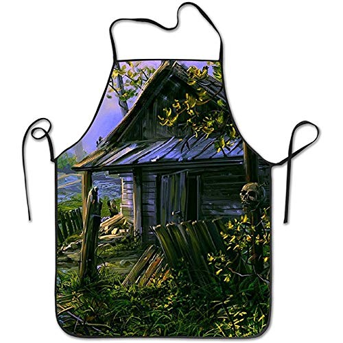 Remain Unique Aprons Haunted House Halloween Skulls Painting Apron for Cooking Gardening Waterproof Bib BBQ Unisex Durable Creative Pinafore]()