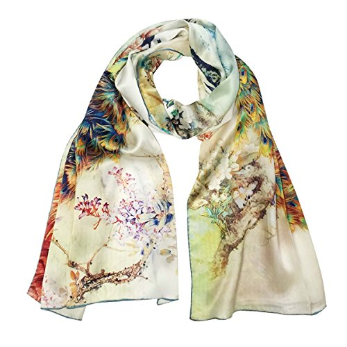 Wrapables Luxurious 100% Charmeuse Silk Long Scarf with Hand Rolled Edges, Peacock