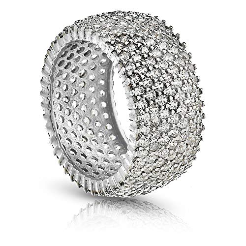 PORI JEWELERS Sterling Silver 7 Row CZ Micro-Pave Set Engagement/Wedding Ring (Sterling-Silver, 9)