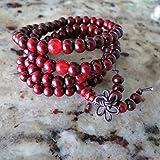 6mm*108 Buddha Red Ebony Wood Prayer Beads Tibet Buddhist Prayer Mala With Red Counting Beads