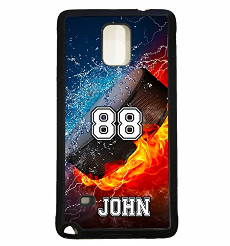 Personalized Pucks Hockey (Galaxy S5 Case, ArtsyCase Thunder Water Fire Hockey Puck Personalized Name Number Phone Case for Samsung Galaxy S5 (Black))