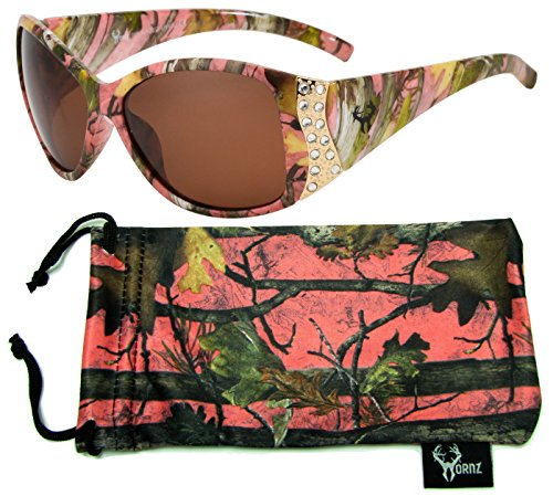 Hornz Pink Camouflage Polarized Sunglasses for Women Rhinestone Accents & Free Matching Microfiber Pouch - Pink Camo Frame - Amber Lens