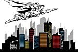 Removable Spiderman Skyline Vinyl Decal 100'' X 67''