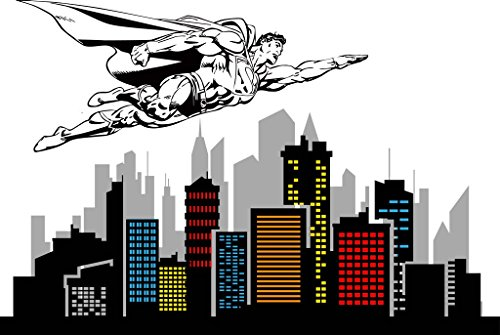 Removable Spiderman Skyline Vinyl Decal 100'' X 67'' by ChicWalls