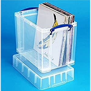 19 litre XL Really Useful Clear Plastic Storage Box- Stores 50 Vinyl LPs