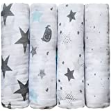 """Muslin Baby Swaddle Blankets """"Starry Nights"""" 4 Pack- CuddleBug 47 x 47 inch Large Muslin Swaddles - Soft Cotton Blankets - Baby Shower Gift - Perfect for Nursery Sets - Unisex"""