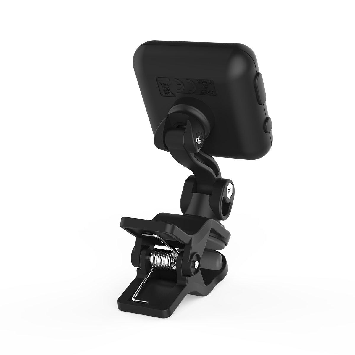 wiederaufladbar per USB Schwarz Cantus Aroma Stimmgerät für Gitarre Bass um 360 Grad drehbar Ukulele und Violine mit Clip