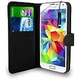 Samsung Galaxy S5 - Schwarzes Leder Geldbörse WALLET Tasche Tasche + Mini Stylus Pen + Display Schutzfolie & Poliertuch