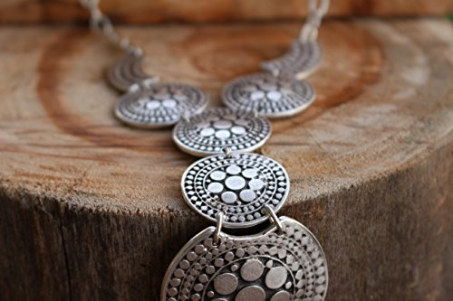 Silver Plated Short Elegant Trendy Chunky Retro Vintage Boho Unique Small Statement Y Necklace by Generic (Image #3)