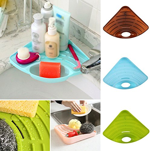 NPLE--Bathroom Kitchen Tool Sink Corner Storage Rack Sponge Holder Wall Suction Cup by NPLE