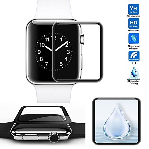 GadgetMarket iWatch 3D Full Coverage Screen Protector 38mm [Anti-Scratch] Gadget Market [HD Film Glass with 3D Curved] Tempered Glass Screen Protector for iWatch 38mm Series 3/2/1 by GM_JSPH