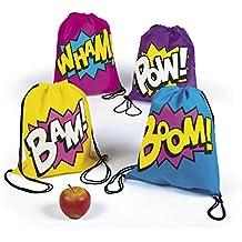 Superhero Girl Drawstring Backpacks Bags - 12 Bags