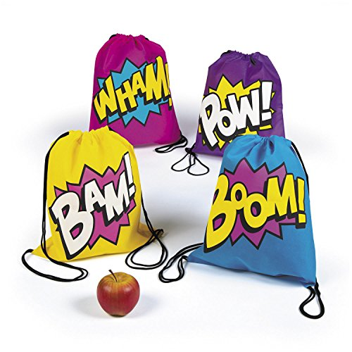 Superhero Girl Drawstring Backpacks Bags - 12 Bags -