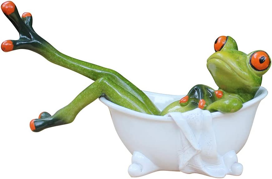 L.DONG 3D Creative Frog Figurine, Red Eyed Tree Frog Lying in The Bathtub, Novelty Frog Collectibles Funny Decor for Bathroom Home Desk