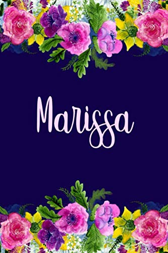 Marissa: Personalized Name Pink Floral Design Matte Soft Cover Notebook Journal to Write In.  120 Blank Lined Pages