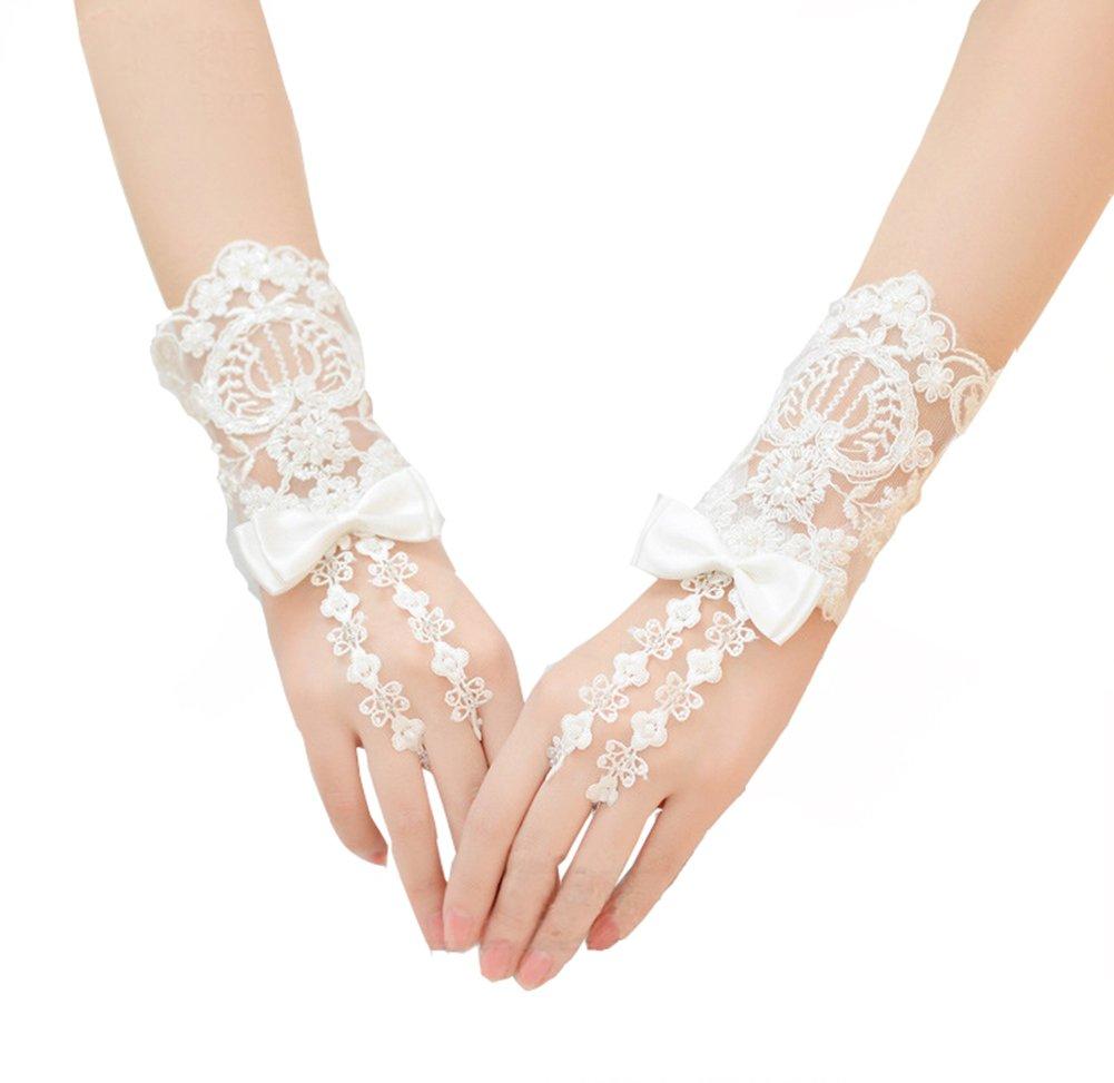 VeraQueen Women's Beige Hollow Lace Floral Fingerless Bride Gloves Wedding Gloves (Beige, 20cm)