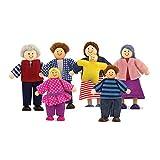 Melissa & Doug 7-Piece Poseable Wooden Doll Family for Dollhouse