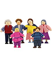 Melissa & Doug Poseable Wooden Doll Family for Dollhouse, 2-4 inches each, 7 Pieces
