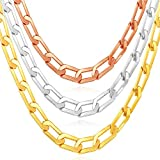 Flat Curb Chain By U7 Jewelry Men Necklace 18K Stamp Gold Tone Classic Cuban Chain 6mm Wide,18 Inch - 30 Inches