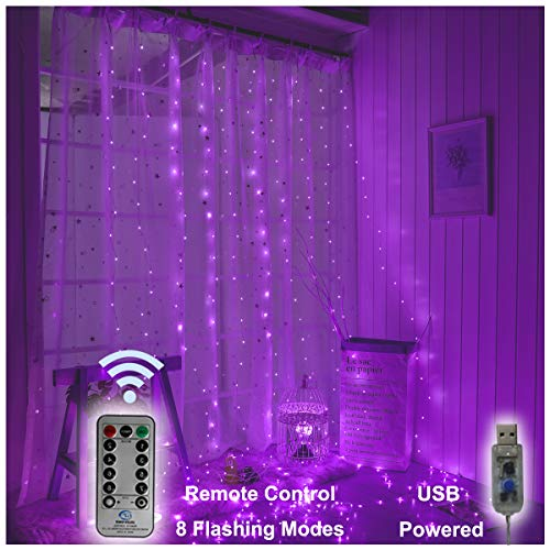 300 LED Copper Curtain String Lights 9.8ftx9.8ft Window Icicle Lights USB Powered 8 Modes with Wireless Remote Control for Home Indoor Bedroom Christmas Wedding Party Decor - Purple