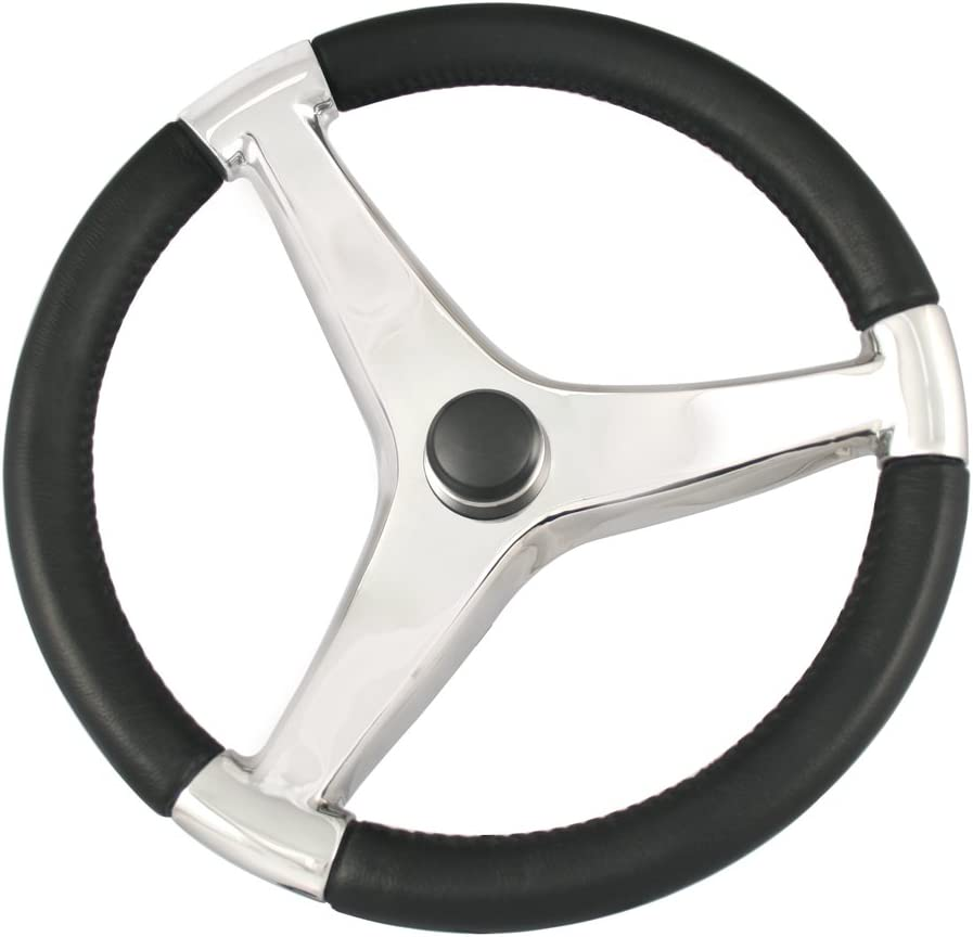 "steering wheel Stainless Steel Schmitt 15.5/"" Euro Sport Style with control knob"