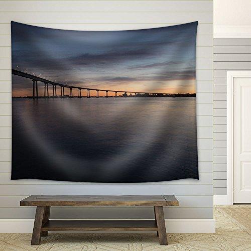 wall26 - San Diego–Coronado Bridge at Dusk - Fabric Wall Tapestry Home Decor - 68x80 inches