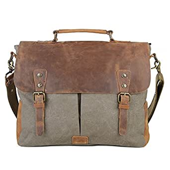 "Gootium Canvas Leather Messenger Bag - Vintage Briefcase 15.6"" Laptop Shoulder Bag, Army Green, Large"