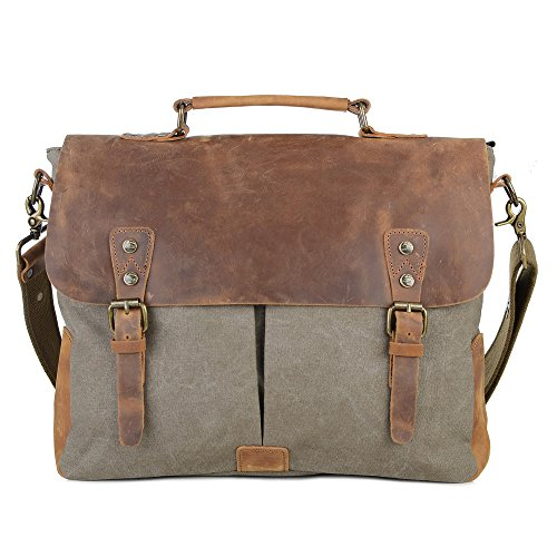 - Gootium Canvas Leather Messenger Bag - Vintage Briefcase 15.6