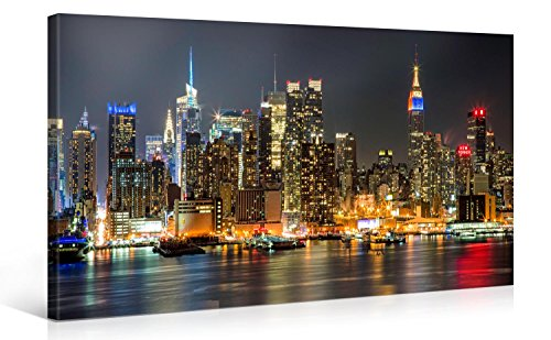 Large Canvas Print Wall Art – MANHATTAN NIGHT LIGHTS – 40 x 20 Inch Canvas Picture Stretched On Wooden Frame – New York City Cityscape Giclee Canvas Printing – Hanging Wall Deco Picture