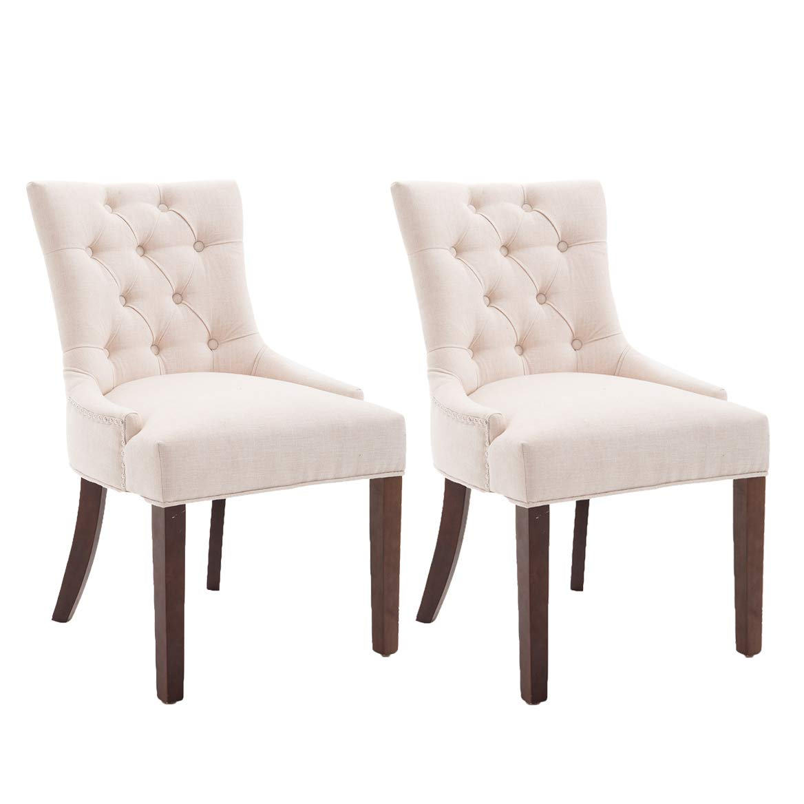 Fabric Dining Chair Upholstered Leisure Padded Chair with Armrest Per-Home, Nailed Trim, Accent Dining Chairs Set of 2(Cream)