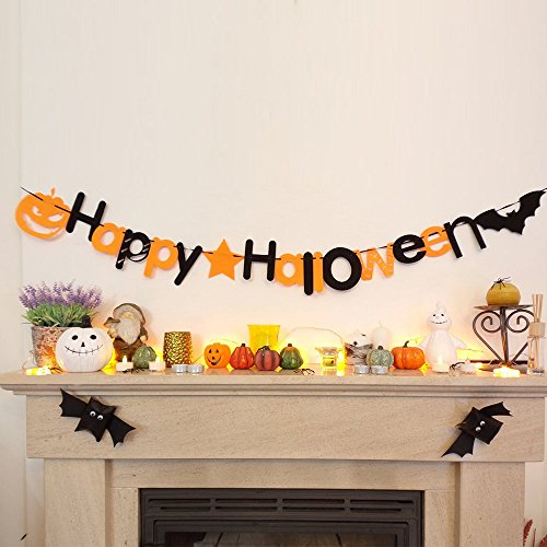 She-love Halloween DIY Non-woven Happy Halloween Letters Hanging Bunting Banner Flag Garland Party Wall Window Home Decoration -