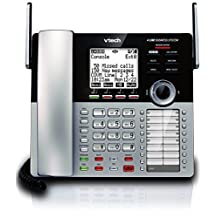 VTech CM18445 4-Line Expandable DECT6.0 Small Business Office Phone with Answering System-Main Console, Black and Silver