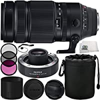 Fujifilm XF 100-400mm f/4.5-5.6 R LM OIS WR Lens with Fujifilm XF 1.4x TC WR Teleconverter 10PC Accessory Kit. Includes Manufacturer Accessories + 3PC Filter Kit (UV-CPL-FLD) + Lens Pouch + MORE
