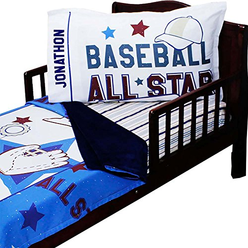 3pc RoomCraft All Star Personalized Baseball Toddler Bedding Set American Sports Blanket Sheet and Pillowcase (All Star Blanket)