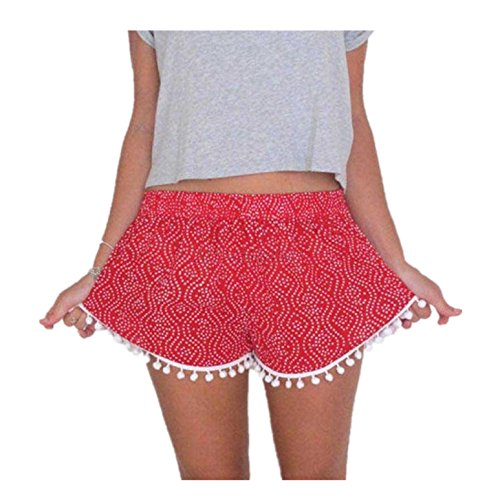 BSGSH Women's High Waisted Polka Dot Pompom Tassel Trim Beach Casual Workout Summer Mini Shorts for sale