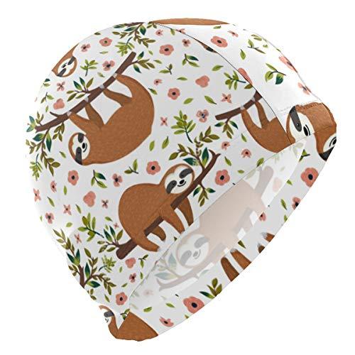 (SLHFPX Cute Animal Sloth Tree Flower Elastomeric Spandex Solid Swim Cap Bathing Caps Swimming Equipment Hats - Keeps Hair Clean Ear Dry)