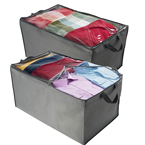 - ZOBER Jumbo Storage Bag, Breathable Blanket, Clothes Storage Bag For Comforter, And Quilts, With Clear Viewing Top And Sturdy Zipper For Clothing, Linens, Shoes Etc. Set Of 2, Grey 17.5x29x15.5