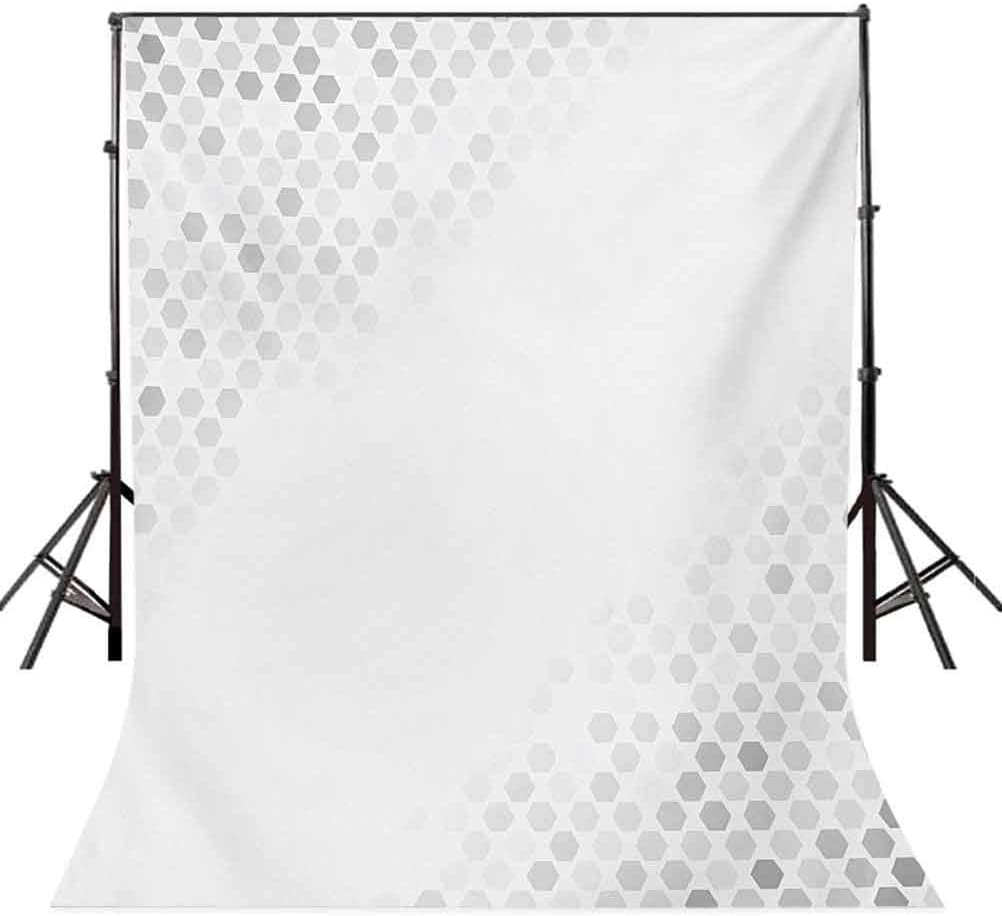 Abstract Beam Shape with Geometric Six Cornered Mosaic Style Futuristic Artsy Illustration Background for Baby Birthday Party Wedding Vinyl Studio Props Photography Grey 10x12 FT Photography Backdrop