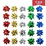 WTSHOP 100 Pieces 2'' Christmas Bows Self Adhesive Glitter,Gift Pull Bows,Christmas Wedding Valentine's Day Present Decoration Pull Bows: more info