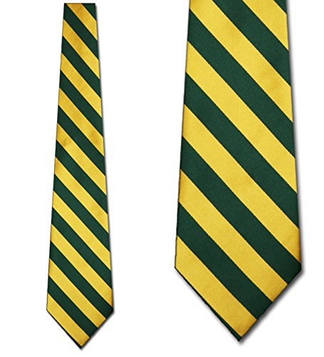 Mens College Forest Green and Gold Striped Ties (Rep Stripe Tie)