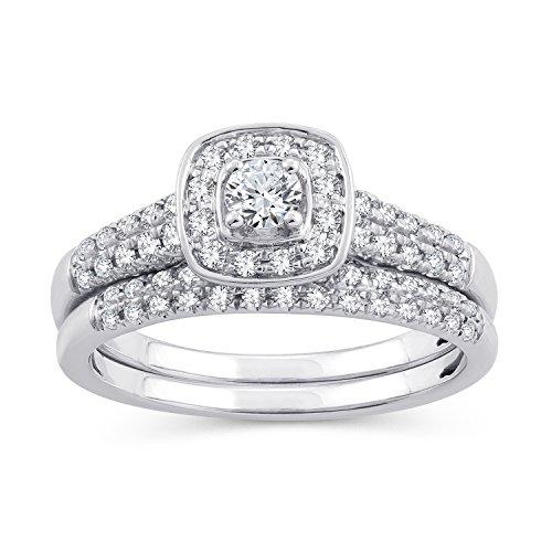(0.50 Ct.Wt. Round Diamond Square Frame Halo Bridal Ring Set 10K White Gold (IJ/I2-I3) (9))