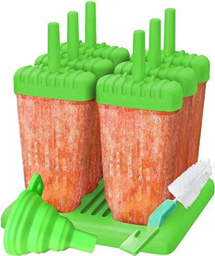 Jsmhh Stieleis Formen for Kinder kostenlos Popsicle-Formen stellten Stieleis Makers, LFGB Certified Freie Eiscreme-Formen mit Reinigungsbürste und Silikon-Folding Funnel