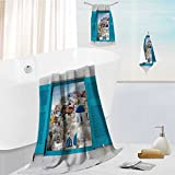 Auraise Home bath sheet towel set window with cityscape of Oia,traditional greek village of Santorini,Greece Multipurpose Quick Drying 13.8''x13.8''-11.8''x27.6''-27.6''x55.2''