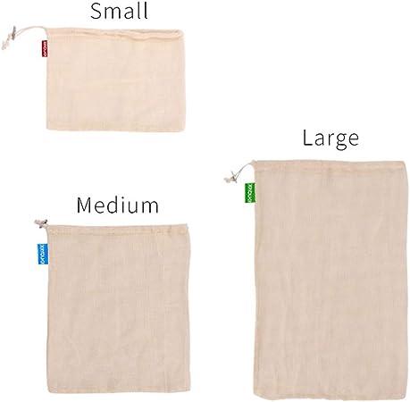 Juego de bolsas reutilizables, 3 paquetes de bolsas de algodón orgánico ecológicas y muselina, lavables para frutas y verduras, con cordón, talla S M L, As Picture Show, 3 piezas: Amazon.es: Hogar