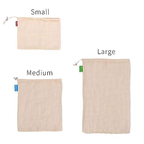 Juego de bolsas reutilizables, 3 paquetes de bolsas de algodón orgánico ecológicas y muselina, lavables para frutas y verduras, con cordón, talla SML, ...
