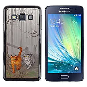Stuss Case / Funda Carcasa protectora - Cats Cute Drawing Fairytale Forest Grey Art - Samsung Galaxy A3 SM-A300